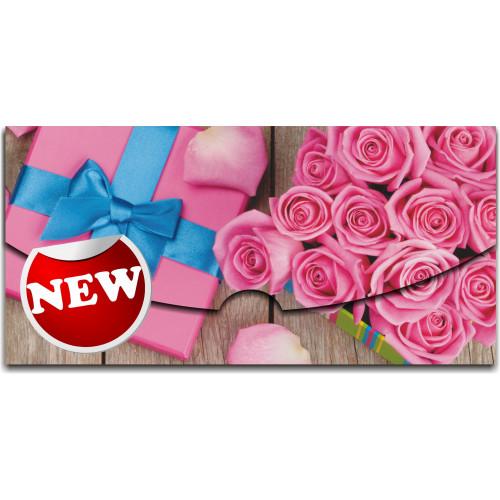 """Конверт для денег """"Розовые розы с лепестками"""""""